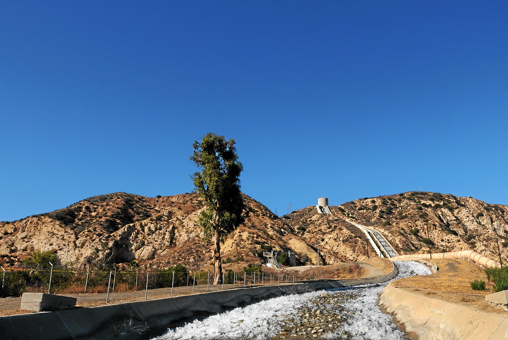 ". The first cascades in Sylmar, CA on October 16, 2013.   On Nov. 5, 1913, some 40,000 Angelenos followed William Mulholland into the San Fernando Valley for an all-day celebration on an empty slope above Sylmar. ""There it is. Take it!\"" Mulholland famously said, as the sparkling liquid trickled down the new cascades at the end of the 233-mile Los Angeles Aqueduct.  (Photo by Dean Musgrove/Los Angeles Daily News)"