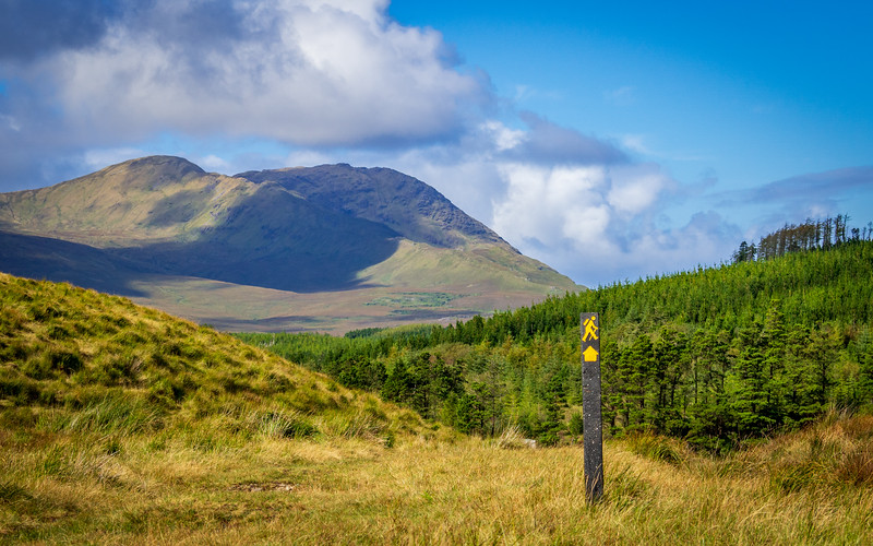 Western Way waymark at the north end of the Inagh Valley