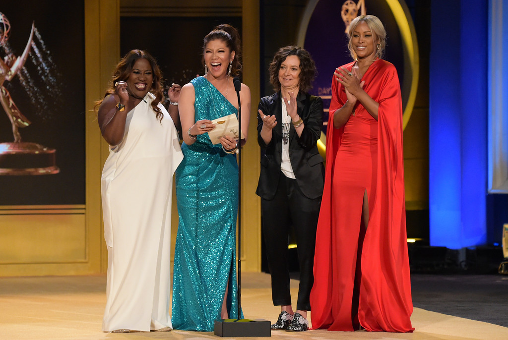 . Sheryl Underwood, from left, Julie Chen, Sara Gilbert and Eve present the award for outstanding entertainment news program at the 45th annual Daytime Emmy Awards at the Pasadena Civic Center on Sunday, April 29, 2018, in Pasadena, Calif. (Photo by Richard Shotwell/Invision/AP)