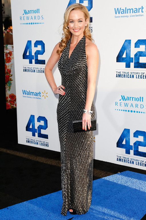 . Actress Kelley Jakle attends the premiere of Warner Bros. Pictures\' And Legendary Pictures\' \'42\' at TCL Chinese Theatre on April 9, 2013 in Hollywood, California.  (Photo by Imeh Akpanudosen/Getty Images)