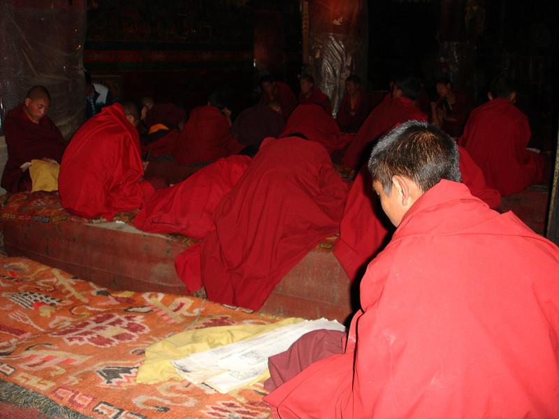 novice monks learning at the Sakya Monastery, Tibet
