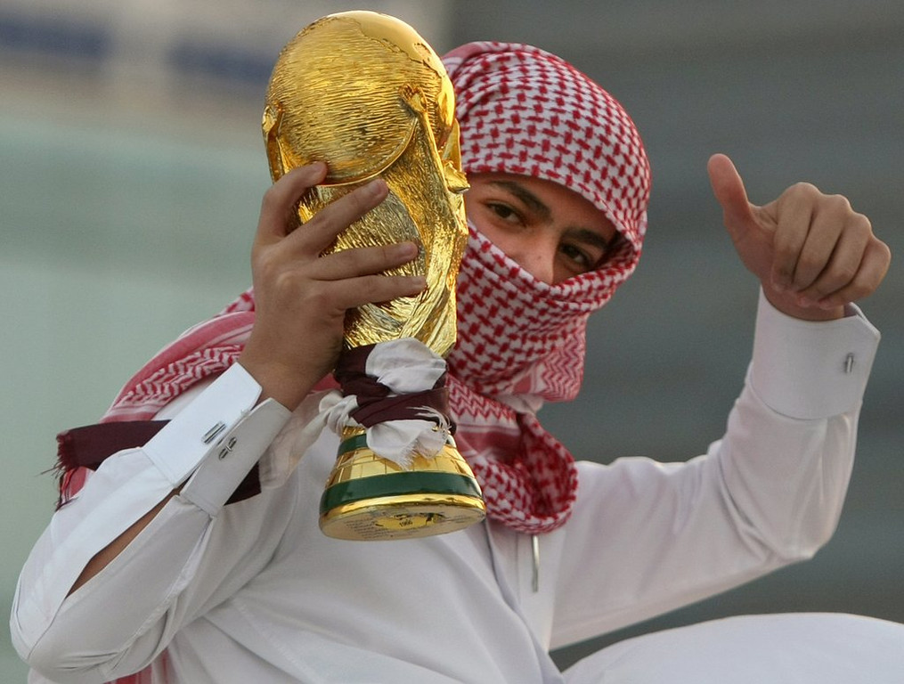 """. <p><b> International soccer czar Sepp Blatter admitted last week that it was a �mistake� to schedule the 2022 World Cup on the excessively hot fields of � </b> <p> A. Qatar <p> B. Saudi Arabia <p> C. Mercury <p><b><a href=\'http://www.usatoday.com/story/sports/soccer/2014/05/16/blatter-world-cup-in-qatari-summer-a-mistake/9171823/\' target=\""""_blank\""""> LINK </a></b> <p>    (Marwan Naamani/AFP/Getty Images)"""