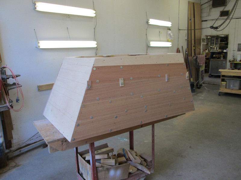 Starboard side of engine box with Mahogany planks being fit.