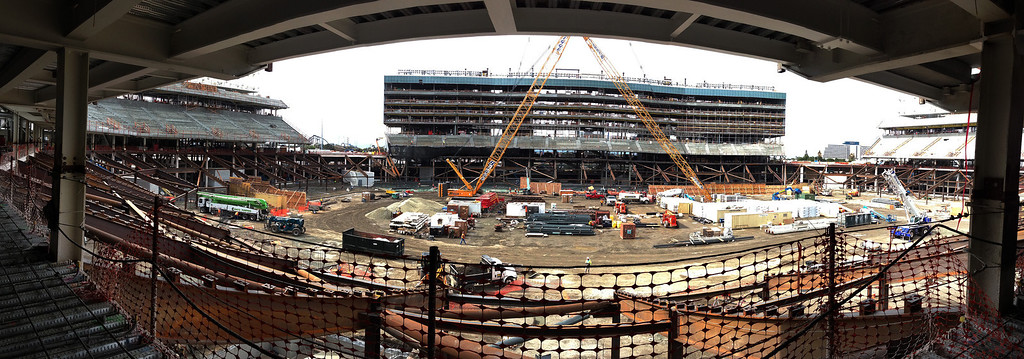 . This is a panoramic view of the current construction at the new 49ers stadium in Santa Clara, Calif. on Wednesday, March 6, 2013. The Super Bowl Host Committee is competing against Miami for the bragging rights of hosting the 50th Super Bowl in 2016.  (Gary Reyes/ Staff)
