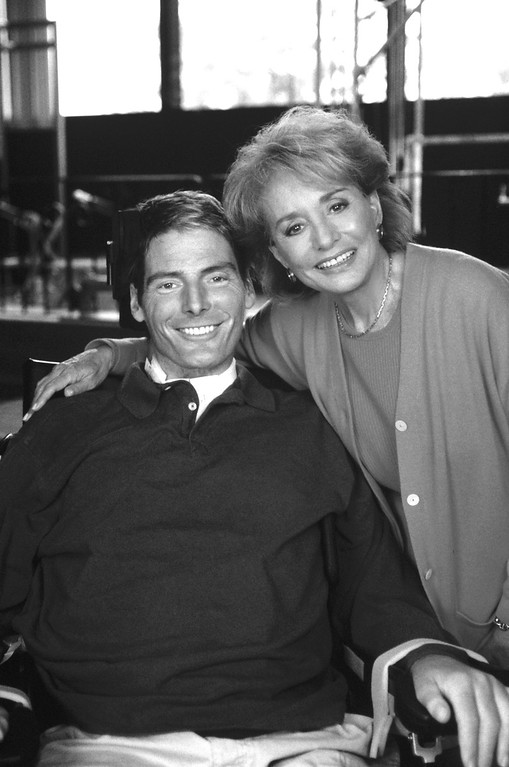 ". ABC NEWS - 9/29/95 - In his first interview since he was left paralyzed from the neck down, actor Christopher Reeve talks with Barbara Walters on a special ABC News\' ""20/20,\"" airing Friday, Sept. 29, at the Kessler Institute for Rehabilitation in New Jersey. (ABC PHOTO ARCHIVES) CHRISTOPHER REEVE, BARBARA WALTERS"