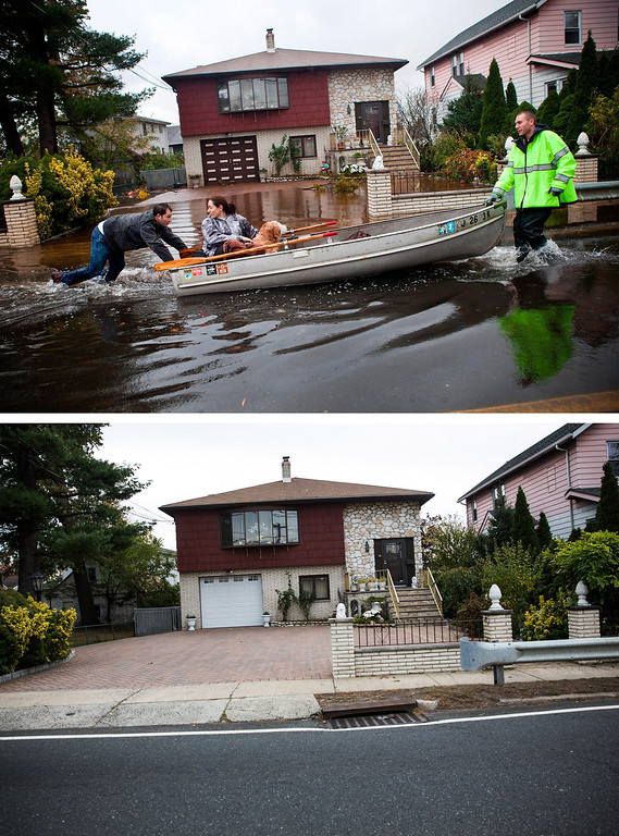 . LITTLE FERRY, NJ - OCTOBER 30: (top)  An emergency responder helps evacuate two people with a boat, after their neighborhood experienced flooding due to Superstorm Sandy October 30, 2012 in Little Ferry, New Jersey.  LITTLE FERRY, NJ - OCTOBER 23: (bottom) The same home in Little Ferry, NJ is shown October 22, 2013.  (Photos by Andrew Burton/Getty Images)