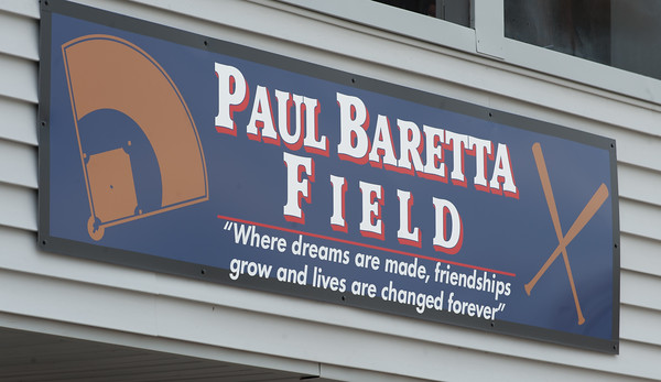 04/13/18 Wesley Bunnell | Staff The Town of Berlin dedicated Paul Baretta Field at Percival Park on April 13th before the Berlin High School baseball game vs Northwest Catholic.