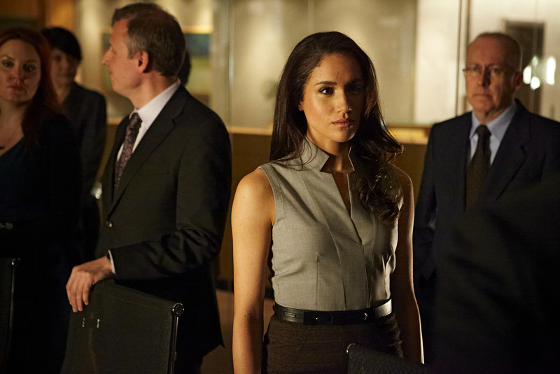 ". SUITS -- ""The Arrangement\"" Episode 301 -- Pictured: Meghan Markle as Rachel Zane -- (Photo by: Ian Watson/USA Network)"