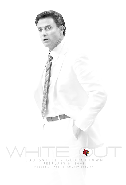 """2008 - LOUISVILLE BASKETBALL """"WHITE OUT"""" POSTER 
