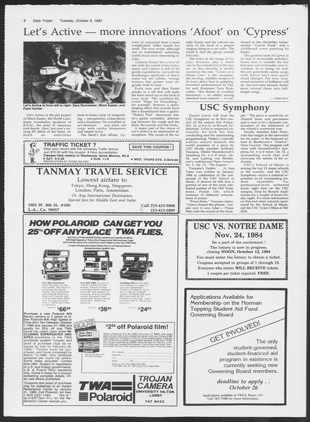Daily Trojan, Vol. 97, No. 26, October 09, 1984