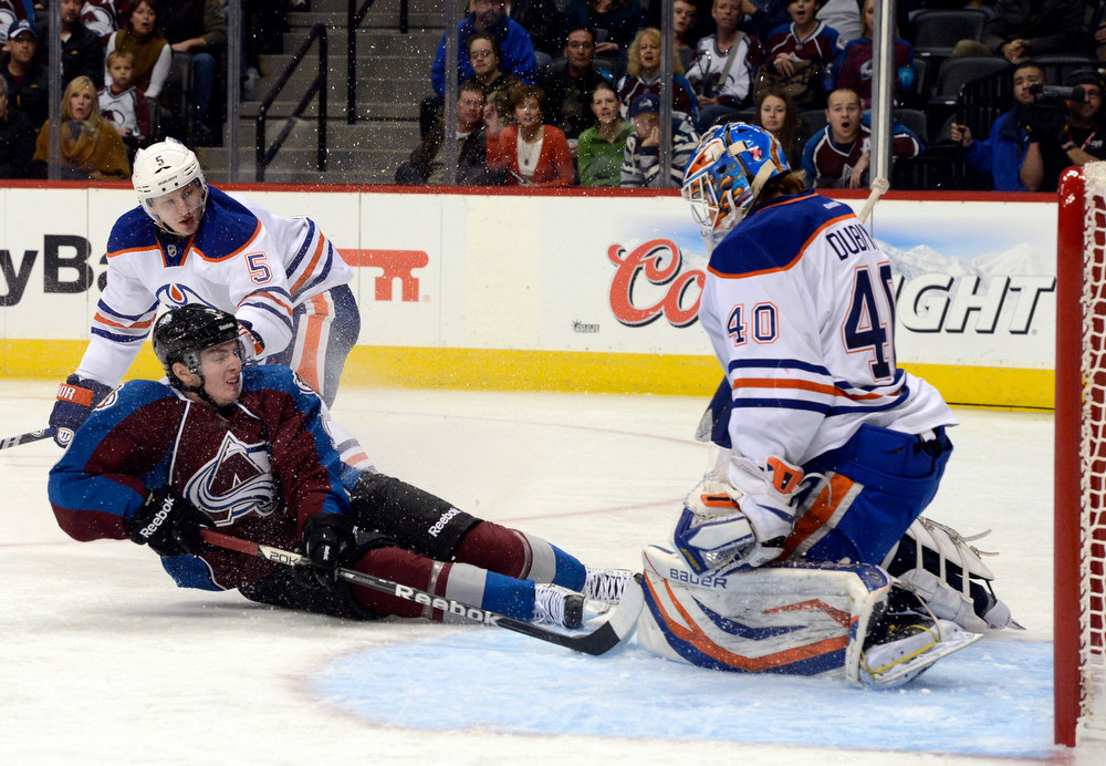 . DENVER, CO. - FEBRUARY 2ND: Matt Duchene, Colorado Avalanche, tries to get one past the defense of Edmonton Oiler, Ladislav Smid, left, and goalie Devan Dubnyk, in the third period at the Pepsi Center in Denver Colorado, February 2nd, 2013. Avalanche went on to win 3-1.  (Photo By Andy Cross / The Denver Post)
