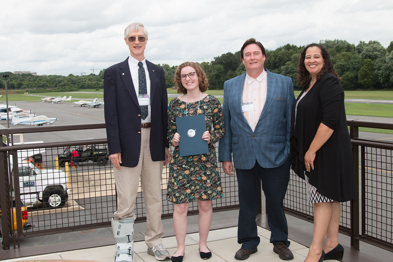 "Awardee Sophie Hourihane  with John Mather, Eric Day (National Space Grant Foundation), and Raquel Marshall (NASA/GSFC Education Office) -- An award luncheon, ""Dr. John Mather Nobel Scholars Program Award"", as part of the National Space Grant Foundation. College Park Aviation Museum, College Park, MD, August 3, 2018."