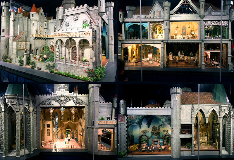 Four sides of Colleen Moore's Fairy Castle doll house