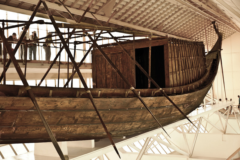 "Khufu's ""Solar Boat"" or ""Solar Barge"" believed to be a ritual vessel to carry the resurrected king with the sun god Ra across the heavens. 143 feet long and 19.5 feet wide."