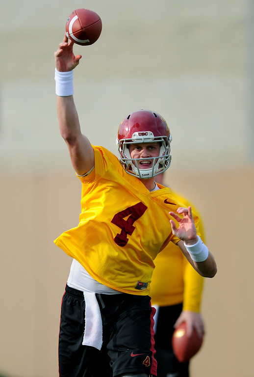 . USC QB Max Browne passes at spring practice, Tuesday, March 11, 2014, at USC. (Photo by Michael Owen Baker/L.A. Daily News)