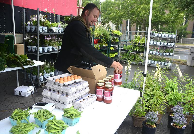 6/23/2018 Mike Orazzi | Staff Grescyk Farms' Henry Gresczyk at the Bristol Farmers Market Saturday in downtown Bristol.