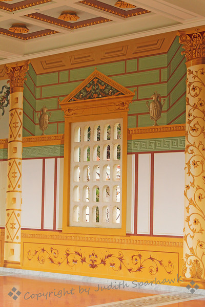 Villa Decor ~ This outer corridor at the Getty Villa, displays painted decoration and windows overlooking the outside garden.  There was something new to see everywhere I looked.