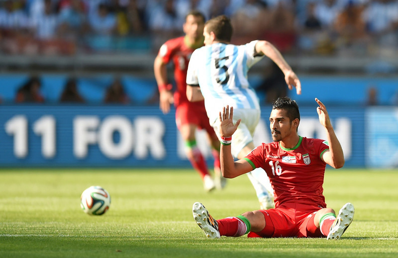 . Iran\'s forward Reza Ghoochannejhad reacts during the Group F football match between Argentina and Iran at the Mineirao Stadium in Belo Horizonte during the 2014 FIFA World Cup in Brazil on June 21, 2014.  (BEHROUZ MEHRI/AFP/Getty Images)