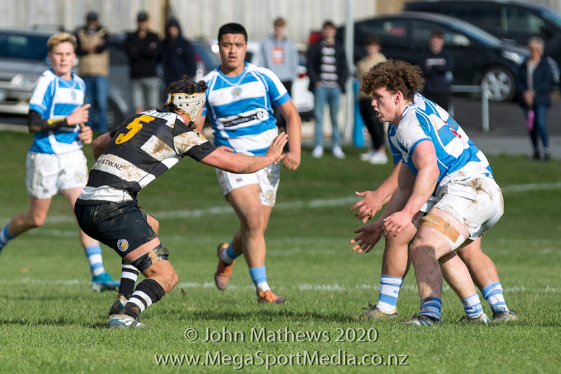 Rowen Slater with the ball on 11 July 2020 at the Rugby match between St Patrick's College Silverstream (Blue) and New Plymouth Boys High School (Black) held at  St Patrick's College Silverstream, Heretaunga, Wellington, New Zealand.   Final Score: Stream 31 NPBHS 32