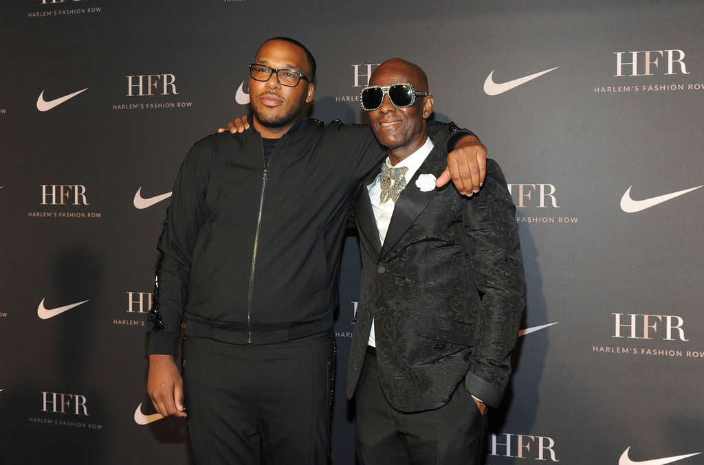 . Honorees Jason Rembert, left, and Dapper Dan attend a fashion show and awards ceremony held by the Harlem Fashion Row collective and Nike before the start of New York Fashion Week, Tuesday, Sept. 4, 2018. (AP Photo/Diane Bondareff)