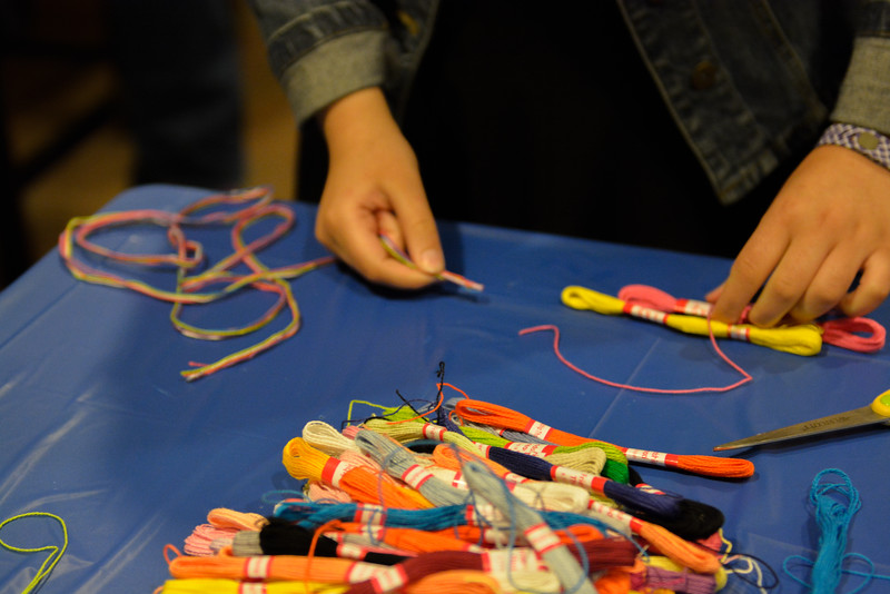 Students got to choose from many colors to make friendship bracelets.
