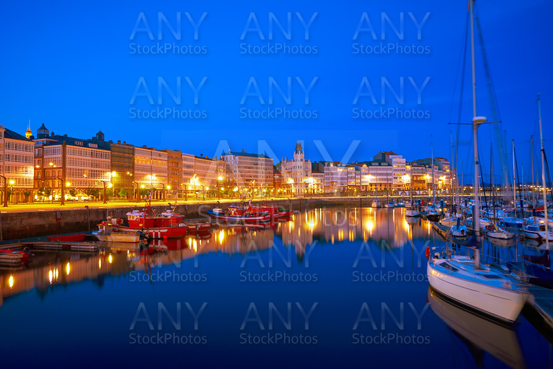 La Coruna sunset port marina in Galicia Spain