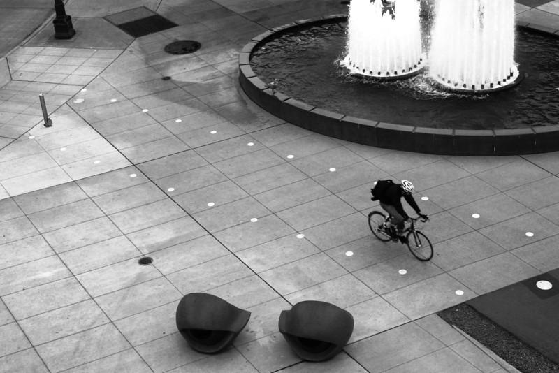 080408-003BW (Bicyclist, Gull, Fountain).jpg