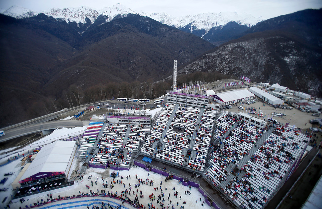 . Fans wait for the Ladies Slopestyle finals at the Rosa Khutor Extreme Park in Sochi, Russia, on Sunday, Feb. 9, 2014.  (Nhat V. Meyer/Bay Area News Group)