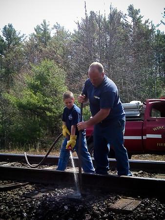 Railroad ties burning