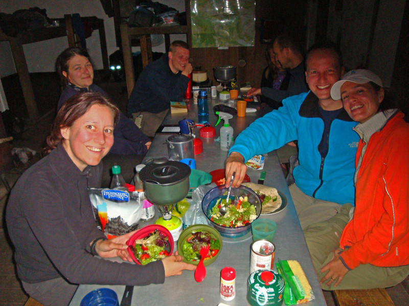 At the hut that night, Sjoerd and Diana blew us all away by coming up with yet another fresh salad dinner, after six days in the wilderness! This explained why they were each carrying two packs!
