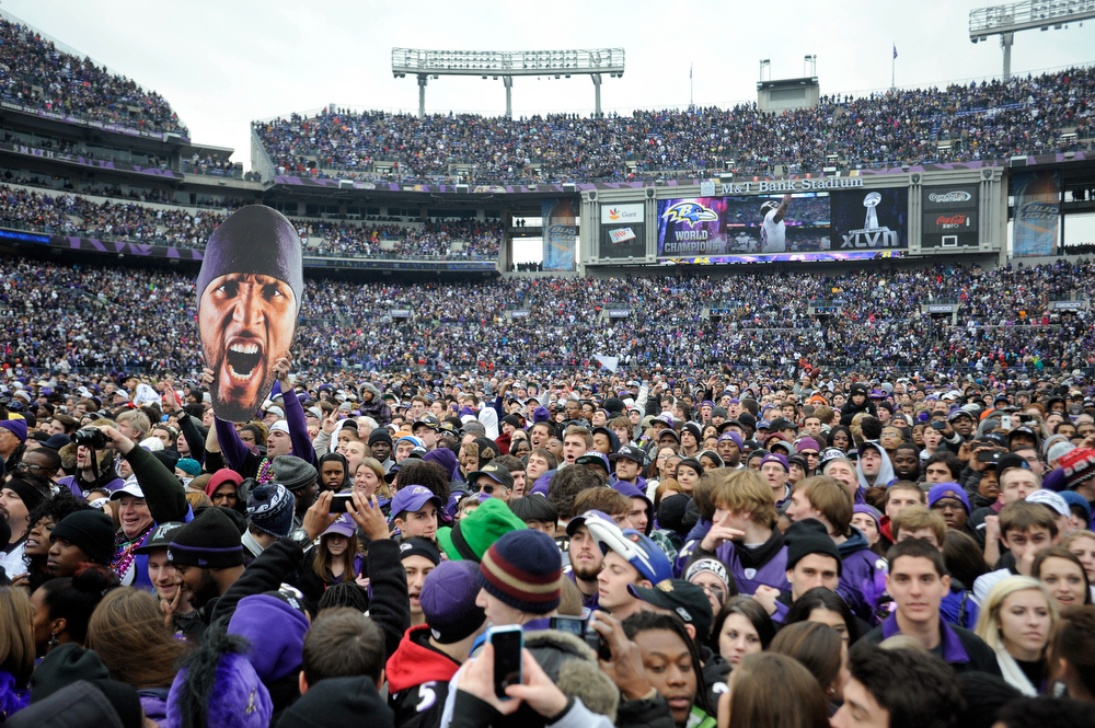 . Thousands of Baltimore Ravens NFL football fans fill M&T Bank Stadium celebrate the team\'s Super Bowl championship during a rally in Baltimore on Tuesday, Feb. 5, 2013. The Ravens defeated the San Francisco 49ers 34-31 in New Orleans on Sunday. (AP Photo/Steve Ruark)