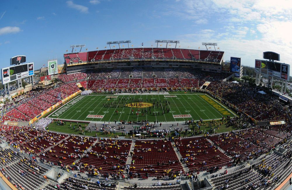 . Pre-game ceremonies before the Michigan Wolverines play against the South Carolina Gamecocks in the Outback Bowl January 1, 2013 at Raymond James Stadium in Tampa, Florida.  (Photo by Al Messerschmidt/Getty Images)