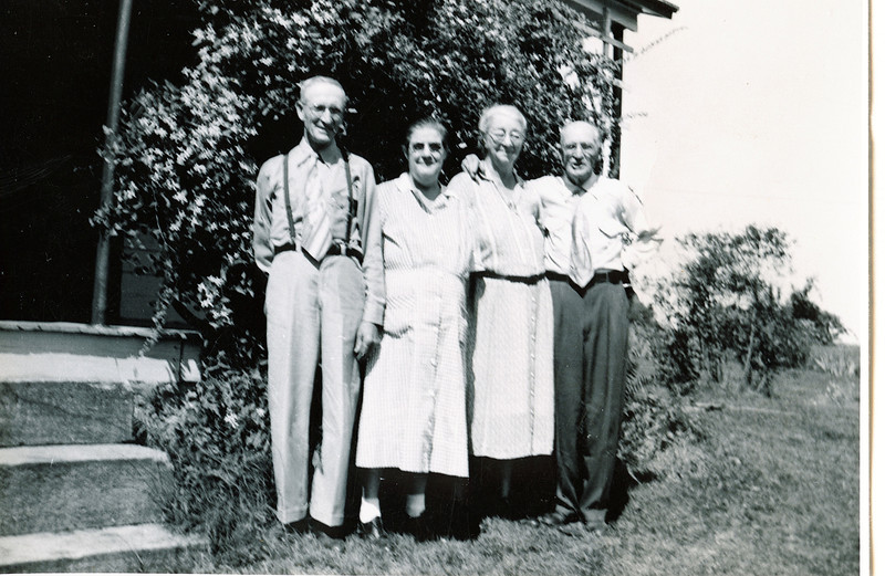 "Left to right: Byron Elmer Dew (1893-1986), Mabelle Elizabeth (Coursey) Dew (1896-1961), Jennie Belle (Pittman) Dew (1887-1966), William Alfred Dew (1869 – 1965)  Written in the Rogers Reunion Photo Album Volume III page 38 ""Elmer Dew, Mabelle (Coursey) Dew, Jennie (Pittman) Dew, William A. Dew July 12, 1952 at the Will Meredith home in Kersey, PA"""