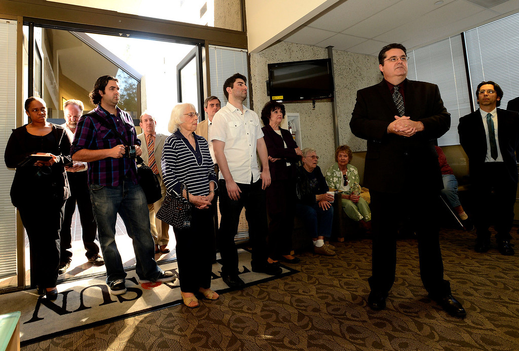 . Los Angeles News Group (LANG)  Vice President and CEO Michael Anastasi speaks to the public during The Sun\'s Open House in downtown San Bernardino March 13, 2013.  GABRIEL LUIS ACOSTA/STAFF PHOTOGRAPHER.