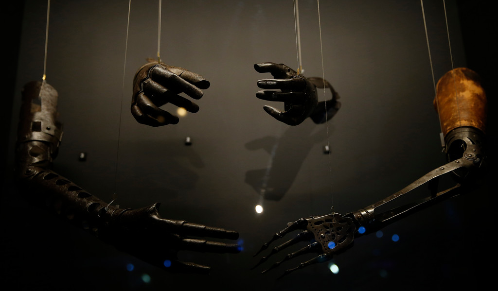 . Prosthetic hands and arms from 1500-1700 on display,  during a press preview for the Robots exhibition held at the Science Museum in London, Tuesday, Feb. 7, 2017. The exhibition which shows 500 years of mechanical and robotic advances is open to the public form Feb. 8 through to Sept. 3. (AP Photo/Alastair Grant)