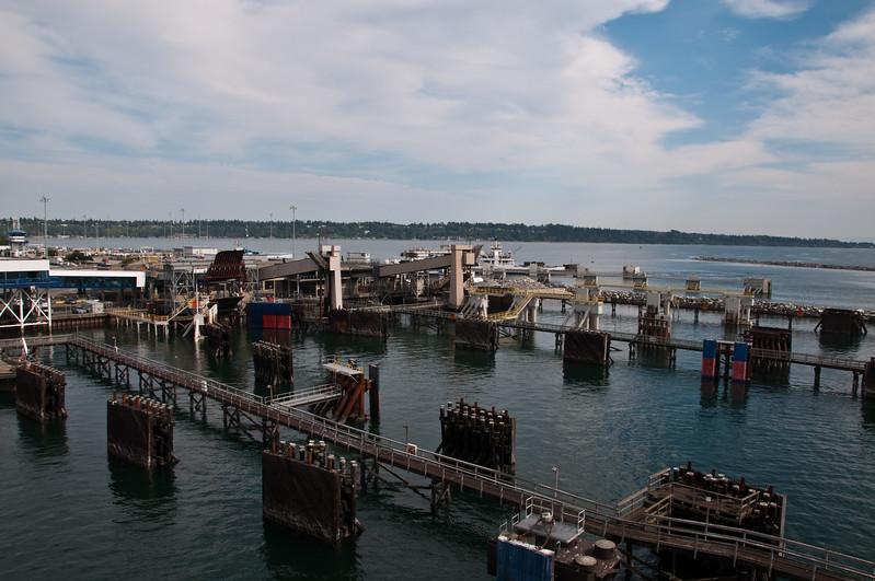 Empty ferry berths.