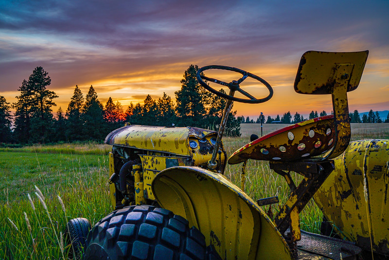 Tractor's sunset