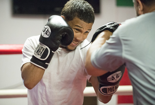 Nathan Martinez of Martinez Boxing Club at 64 Beaver St works out ahead of his fourth professional fight on June 29th at Foxwoods Casino. Wesley Bunnell | Staff