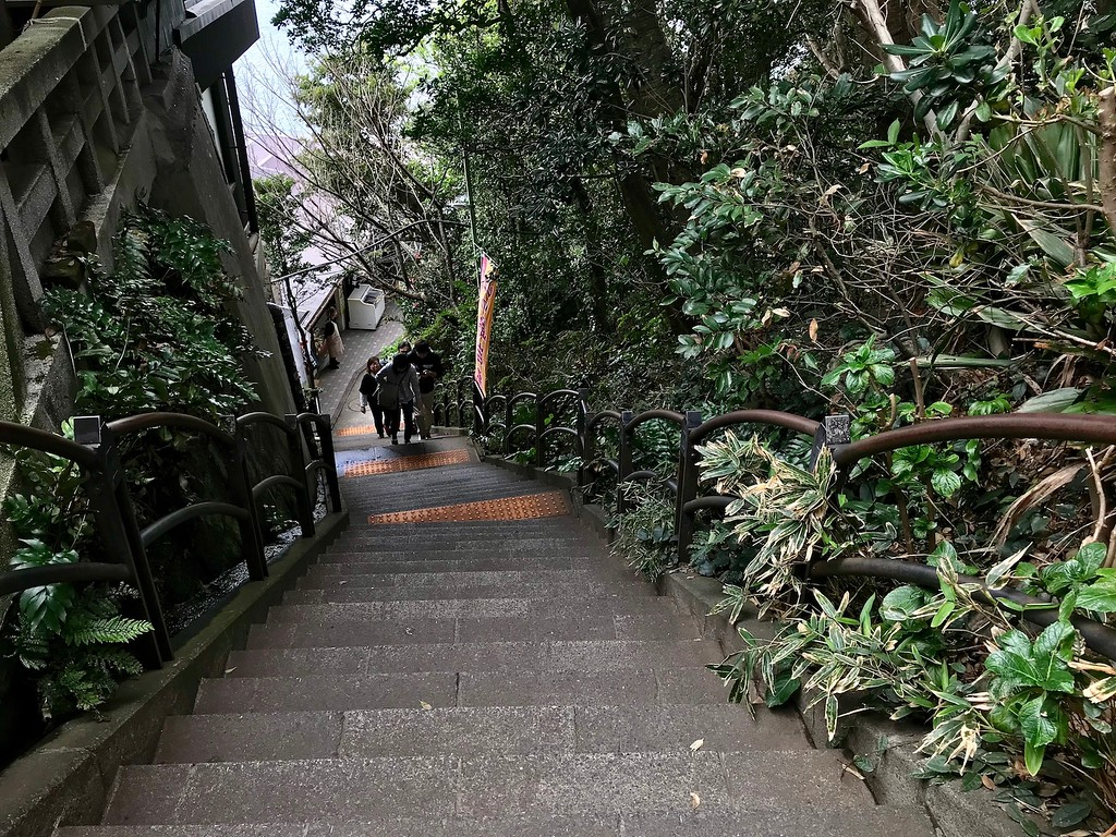 Stairs on Enoshima - what goes up must come down, and vice versa.