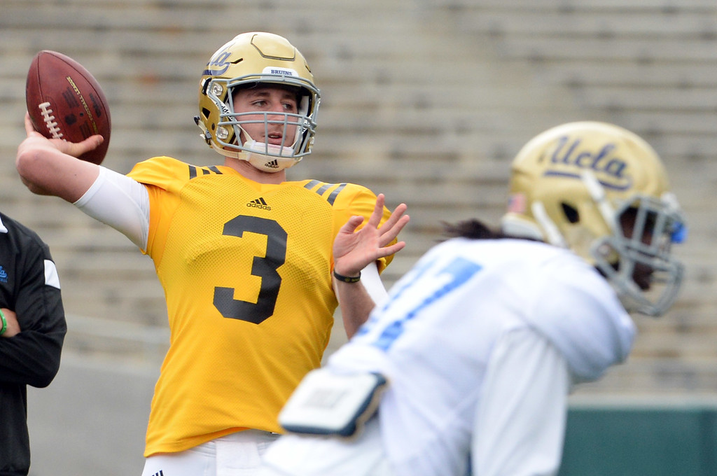 . UCLA Bruins quarterback Josh Rosen (3) during a NCAA college spring football game at the Rose Bowl in Pasadena, Calif., Saturday, April 25, 2015.
