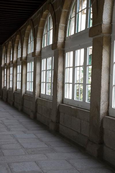 Glazed corridor inside an old building