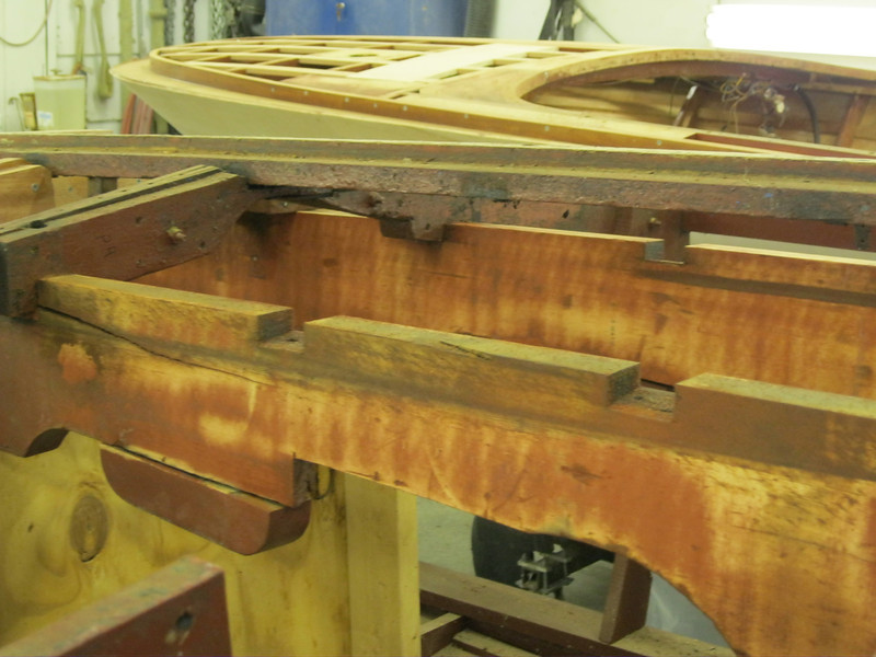 Next two old bottom removed with the engine stringers sanded.