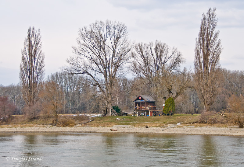 Rustic fishing cabins along the Danube