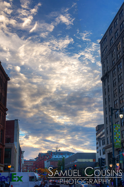 Pretty clouds, looking up from Monument Square