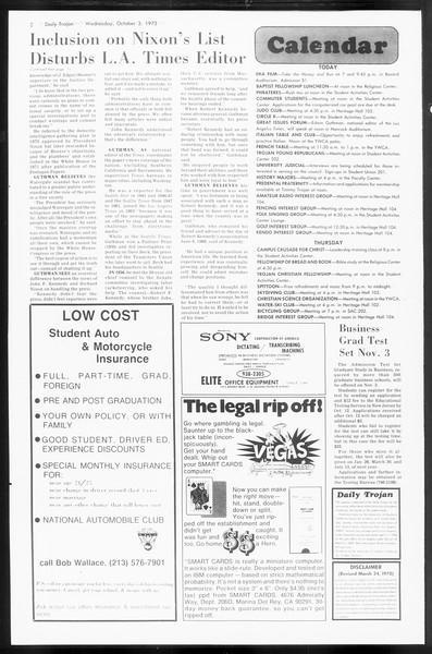 Daily Trojan, Vol. 66, No. 13, October 03, 1973