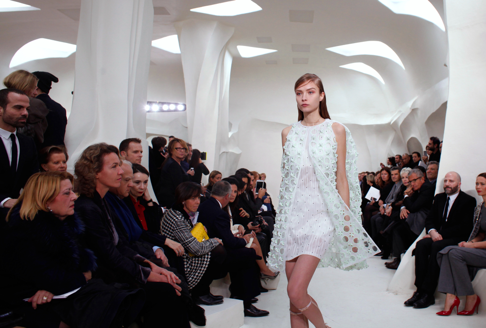 . A model presents a creation as part of the Dior Spring-Summer 2014 Haute Couture fashion collection, presented Monday, Jan. 20, 2014 in Paris. (AP Photo/Thibault Camus)