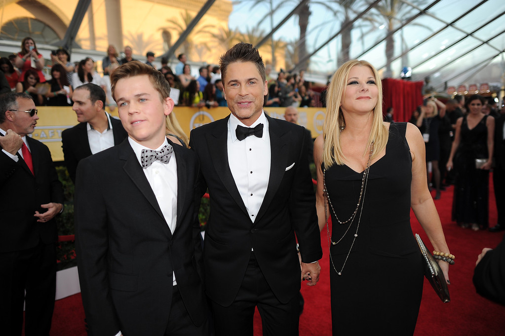 . Rob Lowe and family on the red carpet at the 20th Annual Screen Actors Guild Awards  at the Shrine Auditorium in Los Angeles, California on Saturday January 18, 2014 (Photo by Hans Gutknecht / Los Angeles Daily News)