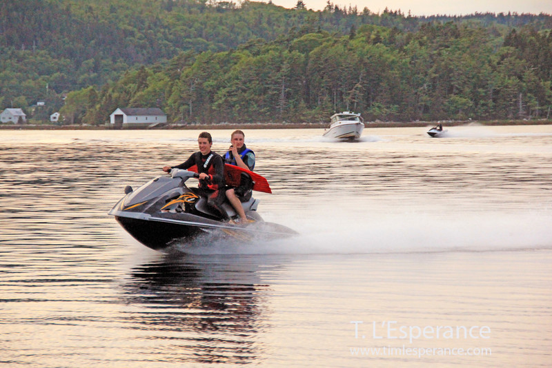 Jet ski fun in Schooner Cove, Head of St. Margaret's Bay, Nova Scotia.