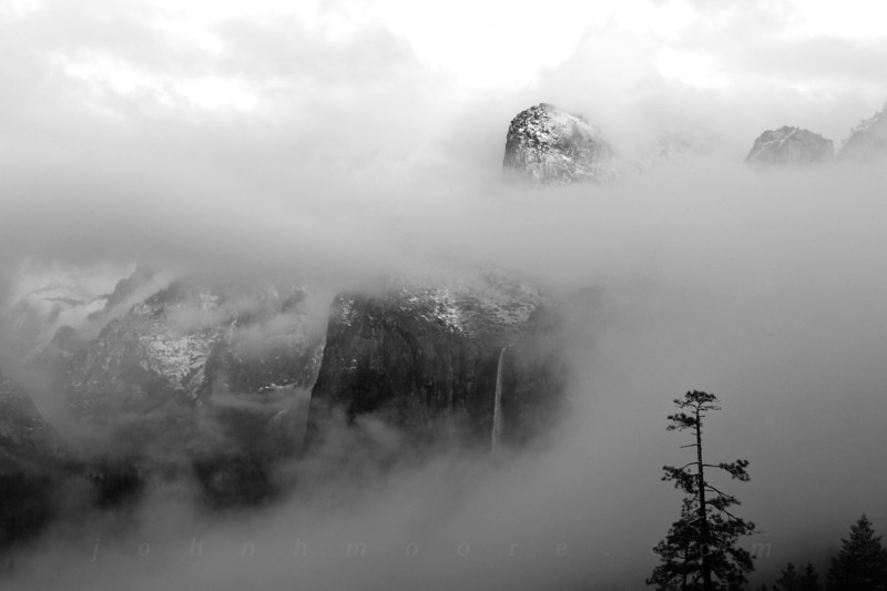 Bridalveil Falls through the clouds