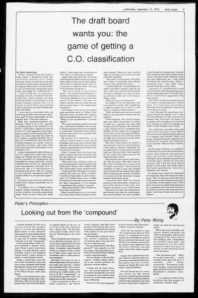 Daily Trojan, Vol. 65, No. 1, September 13, 1972